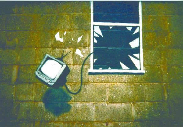 Banksy, copertina dell'album dei Blur Think Tank, 2003.