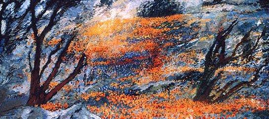 """Michele Cascella """"California-Paesaggio"""" particolare"""