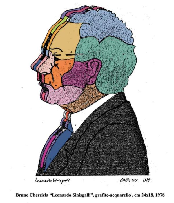 "Bruno Chersica, ""Leonardo Sinisgalli"", grafite-acquarello, cm 24x18, 1978"