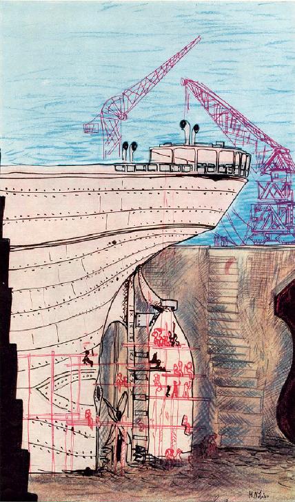 La nave nella fossa dell'Arsenale Triestino