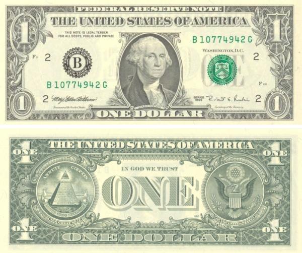 La banconota da 1 dollaro, considerato simbolo del capitalismo per antonomasia.
